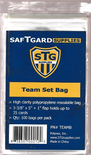Resealable TEAM bags - (10) packs (1,000 total) Baseball cards value