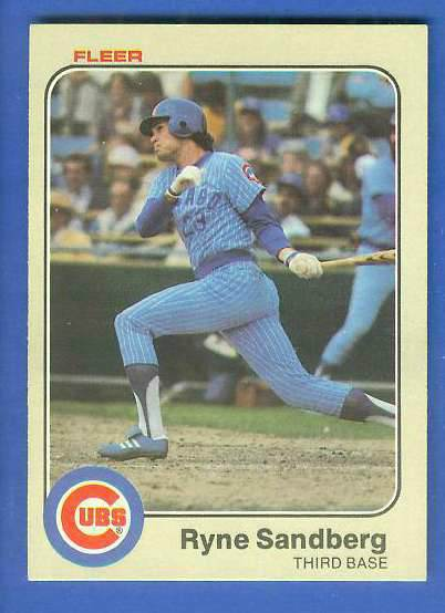 1983 Fleer #507 Ryne Sandberg ROOKIE (HALL-of-FAMER) (Cubs) Baseball cards value