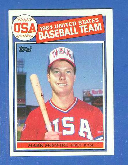 1985 Topps #401 Mark McGwire ROOKIE USA OLYMPIC TEAM [#b] Baseball cards value