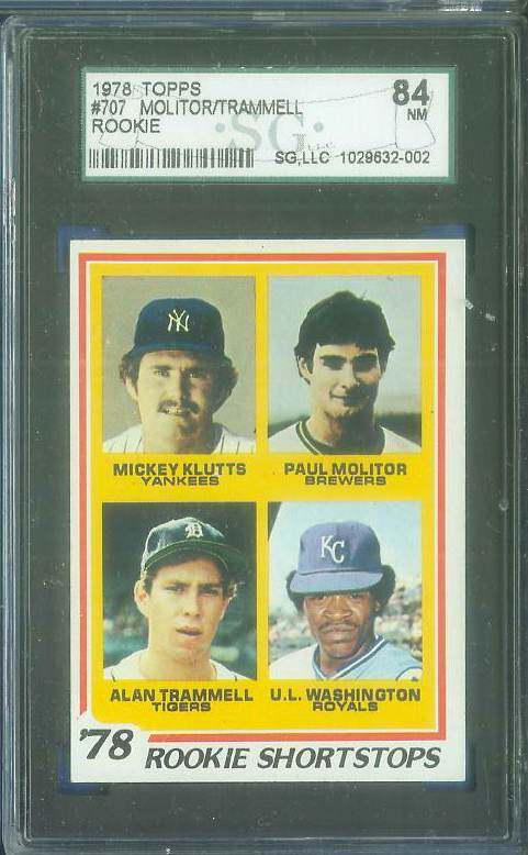 1978 Topps #707 Paul Molitor/Alan Trammell ROOKIES (Brewers/Tigers) Baseball cards value