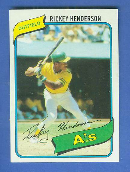 1980 Topps #482 Rickey Henderson ROOKIE [#a] (A's) Baseball cards value