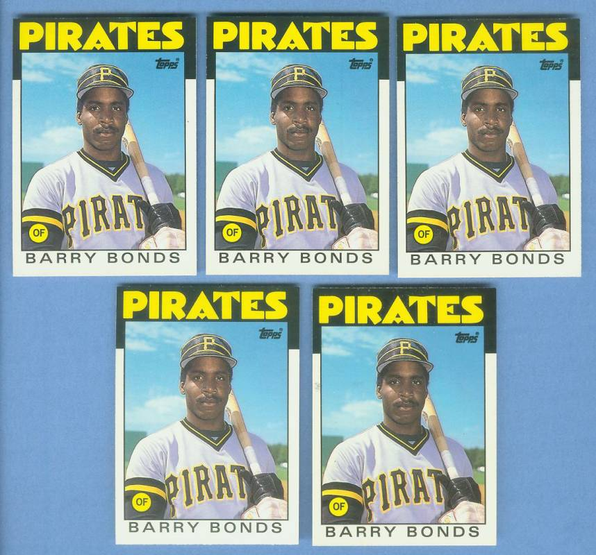 Barry Bonds - 1986 Topps Traded #11T - Lot of (5) ROOKIE cards Baseball cards value