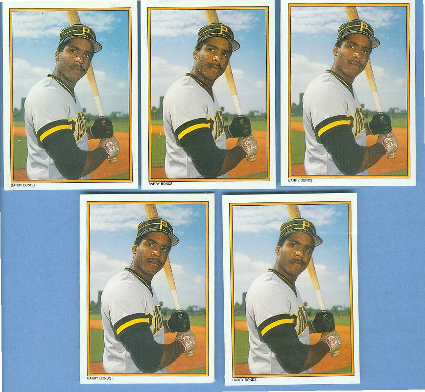 Barry Bonds - 1987 Topps GLOSSY Send-Ins #30 - LOT of ( 5) ROOKIES Baseball cards value