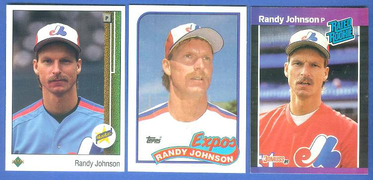 Randy Johnson -  LOT of (3) different ROOKIE cards !!! Baseball cards value