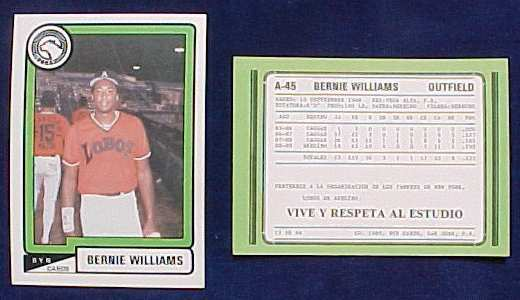 Bernie Williams - 1988-89 BYN Puerto Rico Winter League Update card Baseball cards value