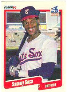 Sammy Sosa - 1990 Fleer #548 ROOKIE Baseball cards value