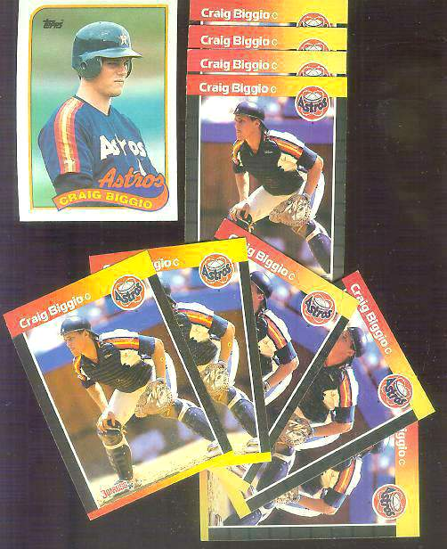 Craig Biggio -  LOT of (10) ROOKIE cards ! Baseball cards value