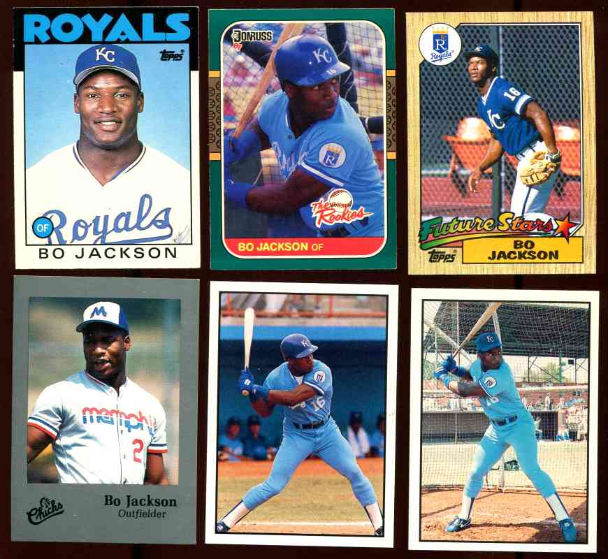 Bo Jackson Lot Of 6 Different Rookie Cards Royals