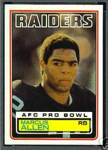 1983 Topps FB #294 Marcus Allen ROOKIE [#a] (Raiders) Baseball cards value