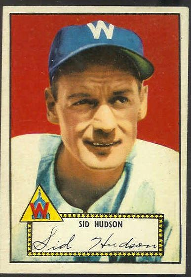 1952 Topps #.60 Sid Hudson [#b] (Senators) Baseball cards value