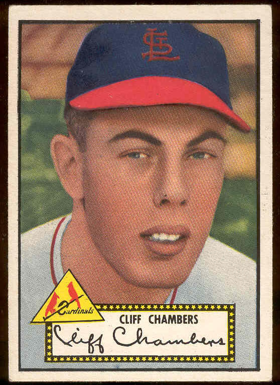 1952 Topps #.68 Cliff Chambers BLACK-BACK (Cardinals) Baseball cards value