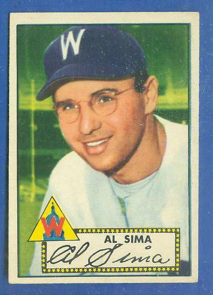 1952 Topps #.93 Al Sima (Senators) Baseball cards value