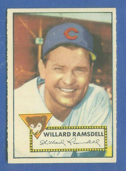 1952 Topps #114 Willard Ramsdell [#a] (Cubs) Baseball cards value