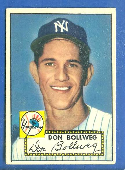 1952 Topps #128 Don Bollweg (Yankees) Baseball cards value