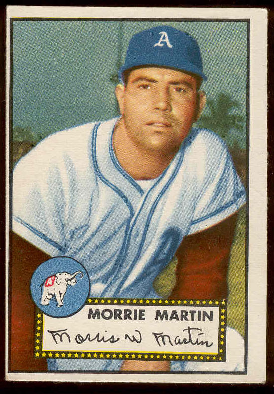 1952 Topps #131 Morrie Martin [#a] (Philadelphia A's) Baseball cards value
