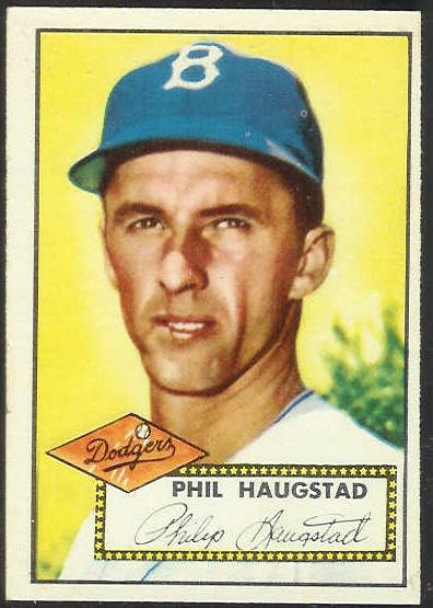 1952 Topps #198 Phil Haugstad (Brooklyn Dodgers) Baseball cards value