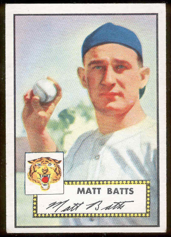 1952 Topps #230 Matt Batts (Tigers) Baseball cards value
