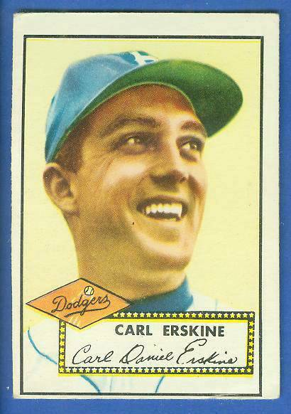 1952 Topps #250 Carl Erskine (Brooklyn Dodgers) Baseball cards value