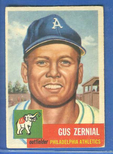 1953 Topps #.42 Gus Zernial [#b] (Philadelphia A's) Baseball cards value