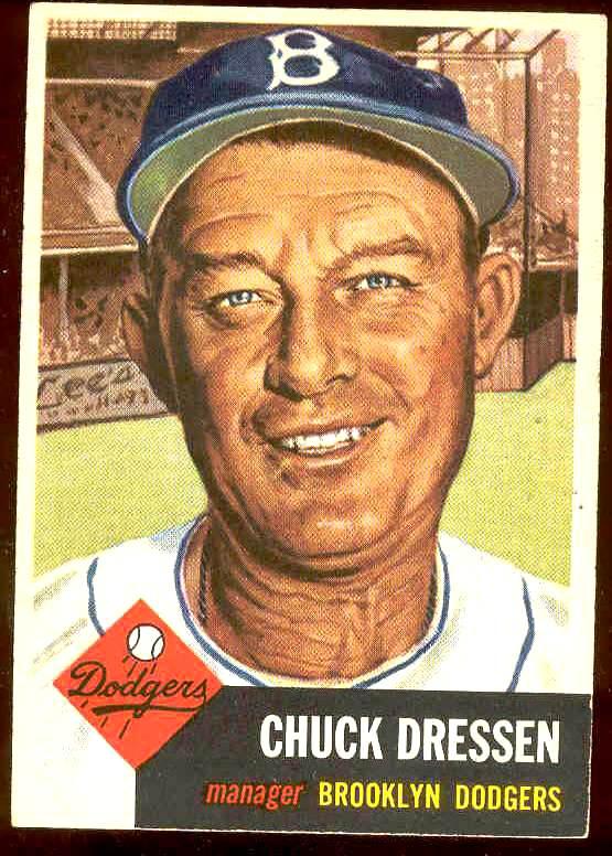 1953 Topps #.50 Chuck Dressen MGR (Brooklyn Dodgers) Baseball cards value