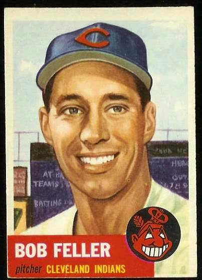 1953 Topps #.54 Bob Feller [#b] (Indians) Baseball cards value