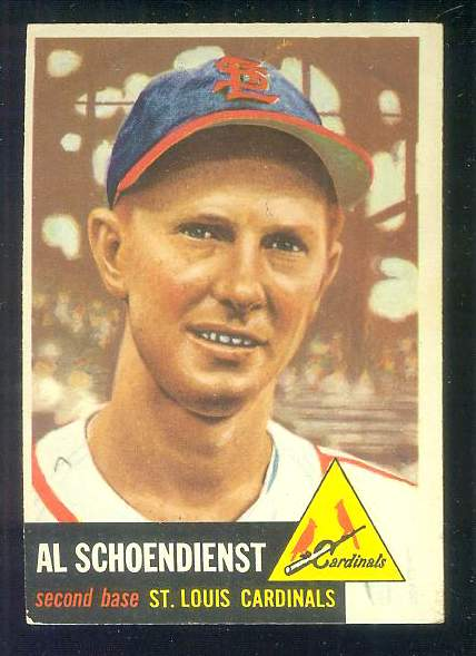1953 Topps #.78 Al 'Red' Schoendienst [#a] (Cardinals) Baseball cards value
