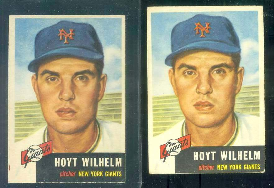 1953 Topps #151 Hoyt Wilhelm [#a] (NY Giants) Baseball cards value