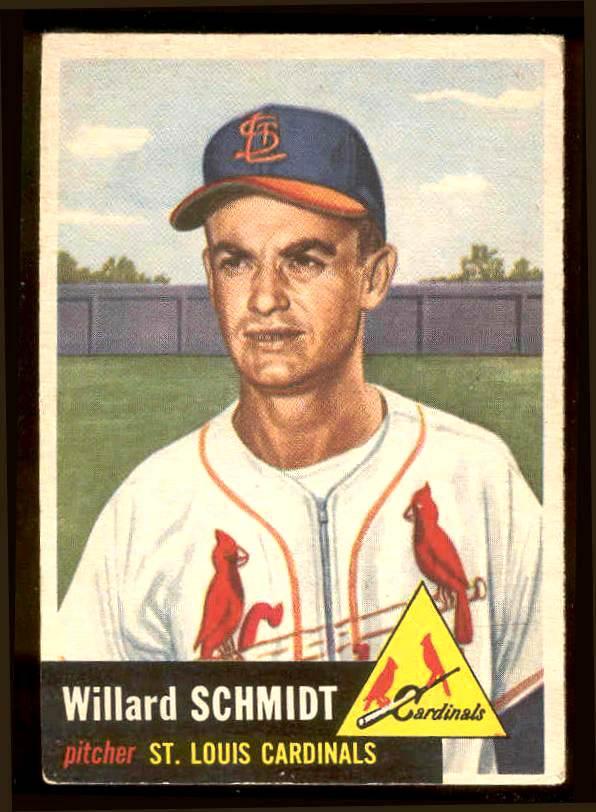 1953 Topps #168 Willard Schmidt (Cardinals) Baseball cards value