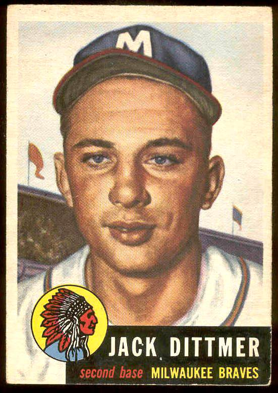 1953 Topps #212 Jack Dittmer (Braves) Baseball cards value