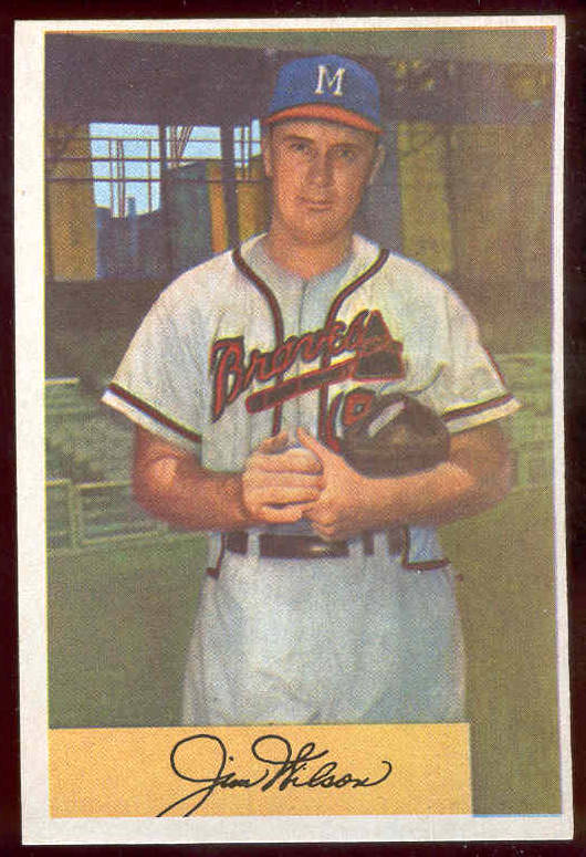 1954 Bowman #.16 Jim Wilson [#a] (Braves) Baseball cards value
