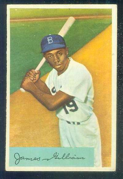 1954 Bowman #.74 James Gilliam [#a] (Brooklyn Dodgers) Baseball cards value