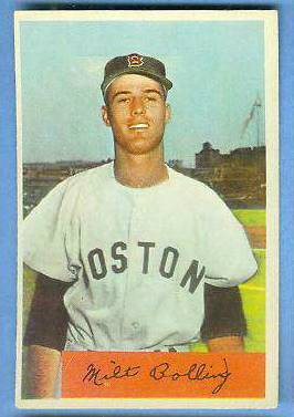 1954 Bowman #130 Milt Bolling (Red Sox) Baseball cards value