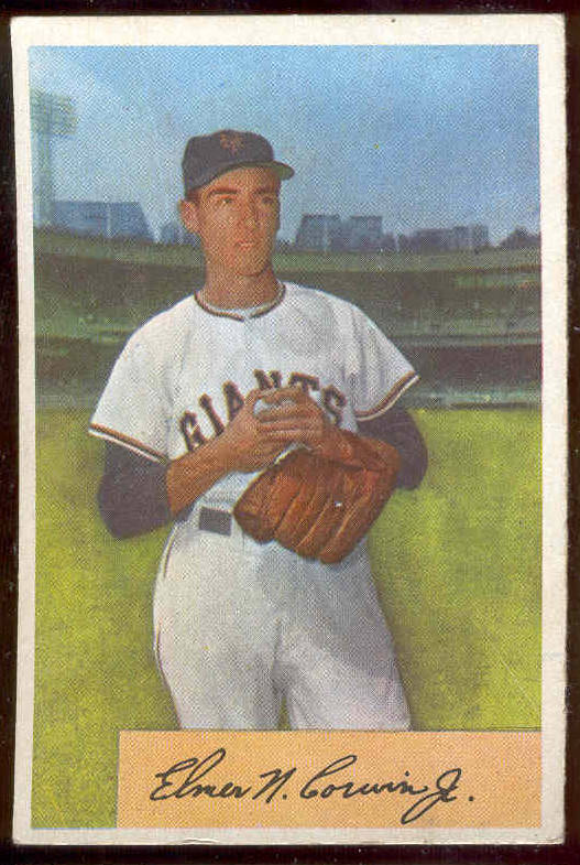 1954 Bowman #137 Elmer N Corwin Jr. (New York Giants) Baseball cards value
