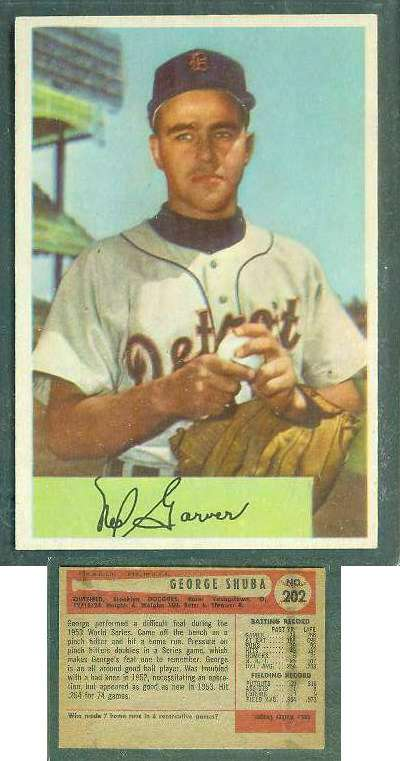 1954 Bowman WRONG BACK - Ned Garver (Tigers) / George Shuba (Dodgers) Baseball cards value