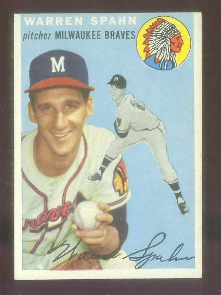 1954 Topps #.20 Warren Spahn [#a] (Braves) Baseball cards value