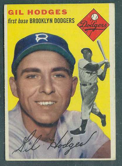 1954 Topps #102 Gil Hodges [#a] (Brooklyn Dodgers) Baseball cards value