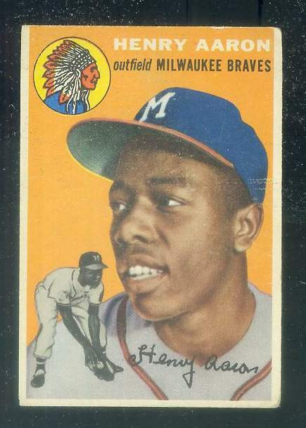 1954 Topps #128 Hank Aaron ROOKIE [#a] (Braves) Baseball cards value
