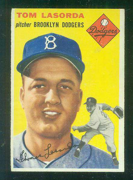 1954 Topps #132 Tom Lasorda ROOKIE [#b] (Brooklyn Dodgers) Baseball cards value