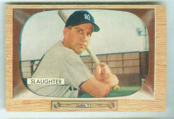 1955 Bowman #.60 Enos Slaughter [#a] (Yankees) Baseball cards value