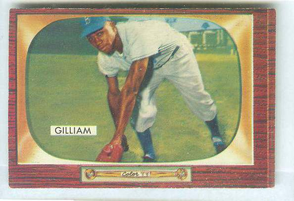 1955 Bowman #.98 Junior Gilliam [#a] (Brooklyn Dodgers) Baseball cards value