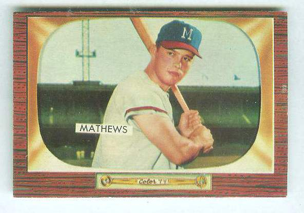 1955 Bowman #103 Eddie Mathews [#a] (Braves) Baseball cards value