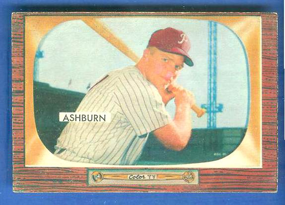 1955 Bowman #130 Richie Ashburn [#a] (Phillies) Baseball cards value