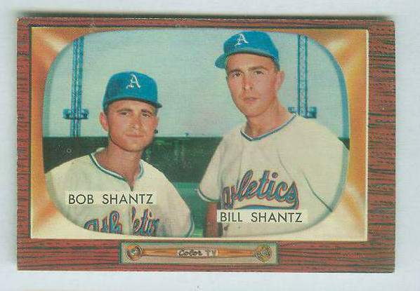 1955 Bowman #139 Bobby & Billy Shantz [#a] (Kansas City A's) Baseball cards value