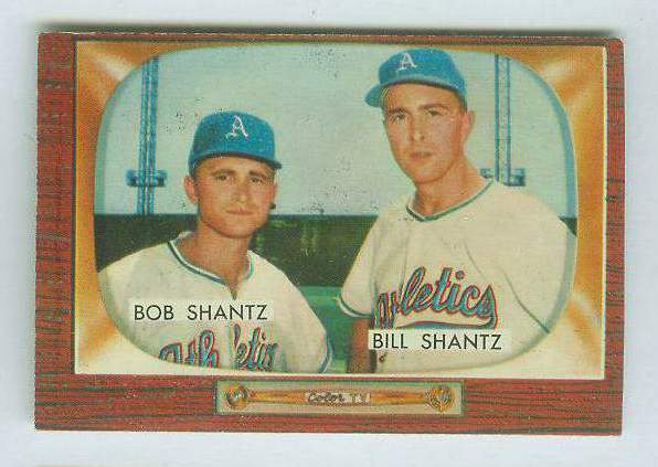 1955 Bowman #139 Bobby & Billy Shantz [#b] (Kansas City A's) Baseball cards value