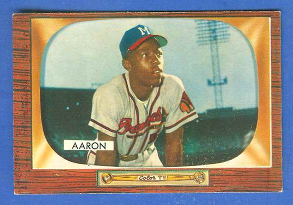 1955 Bowman #179 Hank Aaron [#b] (Braves) Baseball cards value