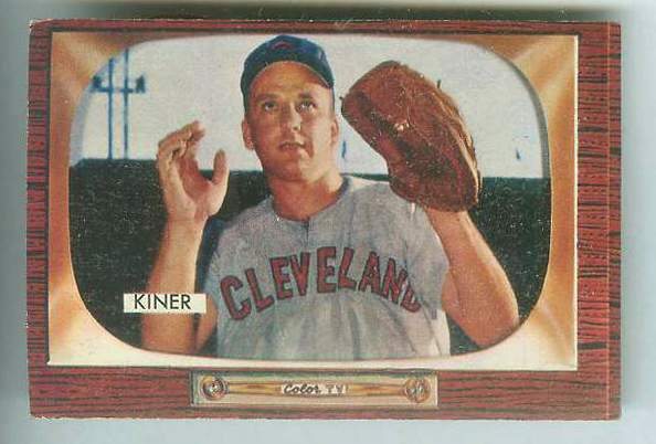 1955 Bowman #197 Ralph Kiner [#b] (Indians) Baseball cards value