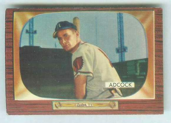 1955 Bowman #218 Joe Adcock [#a] (Braves) Baseball cards value