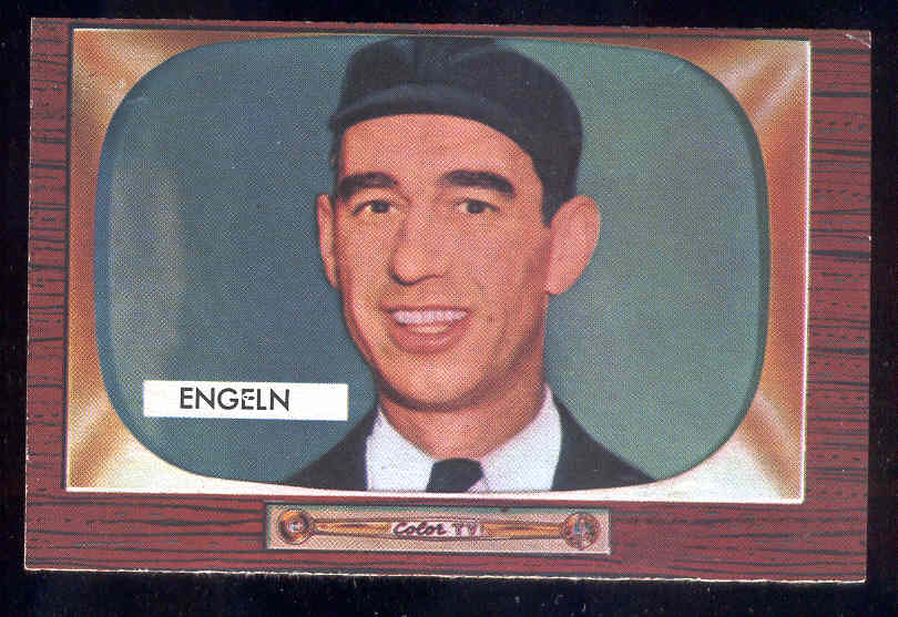 1955 Bowman #301 William R Engeln UMPIRE SCARCER HIGH NUMBER Baseball cards value
