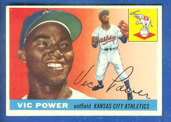 1955 Topps #.30 Vic Power [#a] (Kansas City A's) Baseball cards value