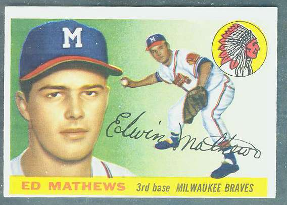 1955 Topps #155 Ed Mathews HIGH NUMBER [#b] (Braves) Baseball cards value